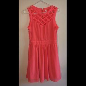 Bright pink lattice top sun dress